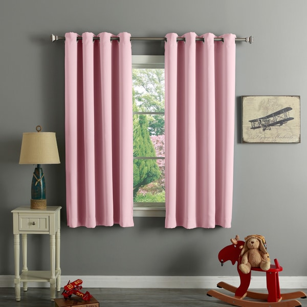 Aurora Home Silver Grommet Top 63 Inch Blackout Curtain Pair