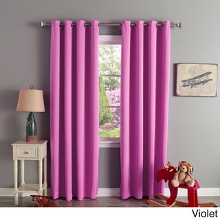 Aurora Home Silver Grommet Top Thermal Insulated 84-inch Blackout Curtain Panel Pair