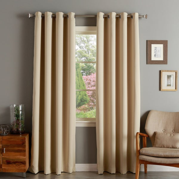 aurora home silver grommet top thermal insulated 84 inch blackout curtain panel pair free. Black Bedroom Furniture Sets. Home Design Ideas