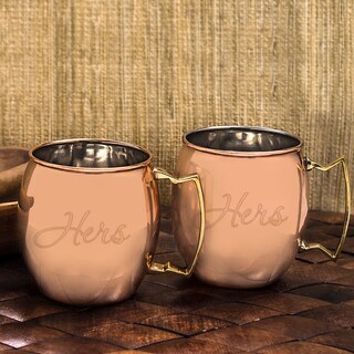 Hers / Hers Moscow Mule Copper Mug w/ Unique Handle (Set of 2)