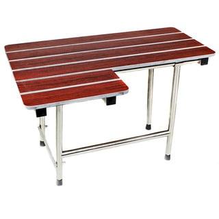 Phenolic Wood Folding Shower Bath Seat with 18-inch Stainless Steel Satin Finish Grab Bar