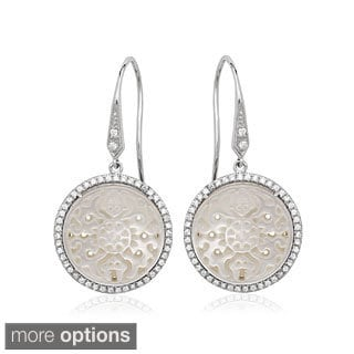 La Preciosa Sterling Silver Cubic Zirconia and Mother of Pearl Earrings