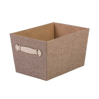 Upholstered Storage Bin with Faux Leather Handles
