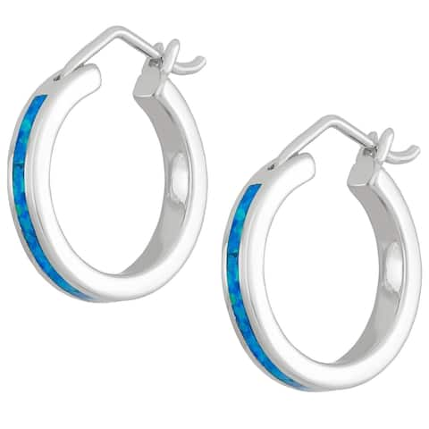 La Preciosa Sterling Silver/Gold Plated/ Rose Gold Created Opal Hoop Earrings