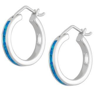 La Preciosa Sterling Silver Created Opal Hoop Earrings