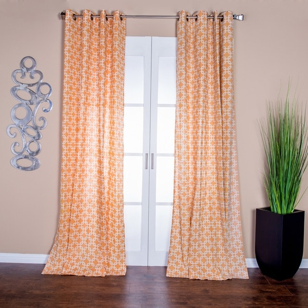 Lambrequin Avila Orange Linen 96-inch Curtain Panel