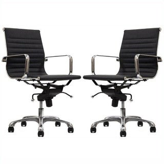 Manhattan Comfort  Ellwood Mid-Back Adjustable Office Chair (Set of 2)