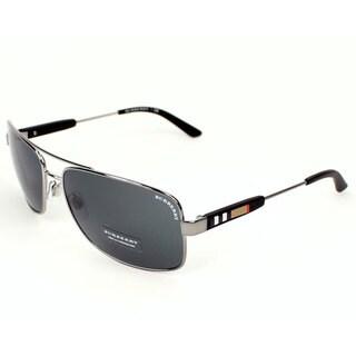 Burberry Men's BE3074100387 Grey Metal Rectangular Sunglasses