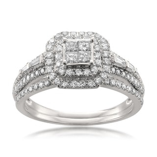 Montebello 14k White Gold 1ct TDW Diamond Double Halo Engagement Ring and Wedding Band Set (H-I, SI1)