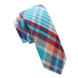 Skinny Tie Madness Men's Multi Color Plaid Skinny tie