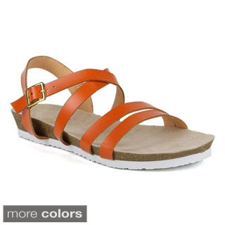Fahrenheit Women's Betty-05 Cross-Strap Open Toe Sandals