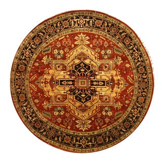 EORC Hand Knotted Wool Rust Serapi Rug (6' Round)