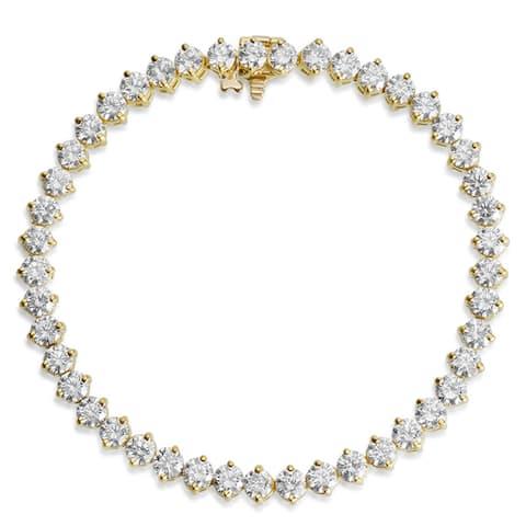 SummerRose 18k Yellow Gold 9 1/3ct TDW Diamond Tennis Bracelet