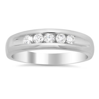 14k White Gold Men's 1/2ct TDW Diamond 5-stone Ring (F-G, SI1-SI2)