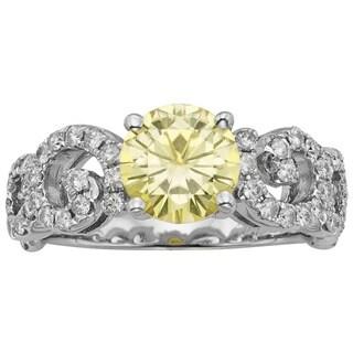 Charles & Colvard Sterling Silver 2.10 TGW Round Classic Moissanite Fashion Ring