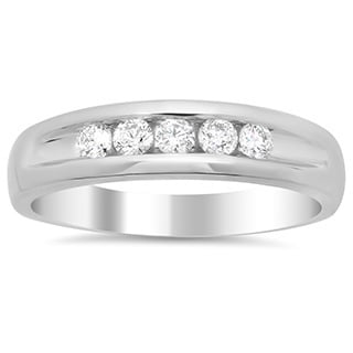 14k White Gold Men's 3/5ct TDW Diamond Ring (F-G, SI1-SI2)