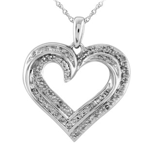 Bridal Symphony Sterling Silver 1/3ct TDW White Diamond Heart Pendant