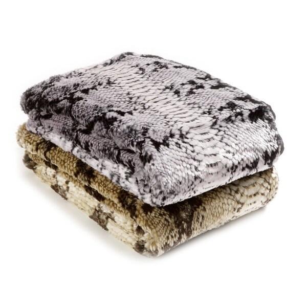 Aurora Home Snakeskin Faux Fur Throw Blanket by Wild Mannered
