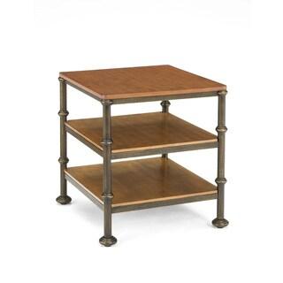 Bentley Oak and Metal Castor End Table