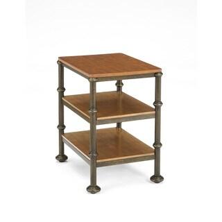 Bentley Oak and Metal Castor Side Table