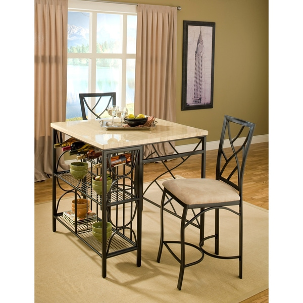 Bernards Kitchen Island with 2 Barstools  sc 1 st  Overstock.com & Bernards Kitchen Island with 2 Barstools - Free Shipping Today ... islam-shia.org