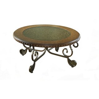 Metal Etched with Nailhead Round Cocktail Table