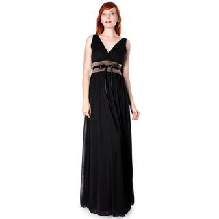 Evanese Women's Chiffon Matte Jersey Ruched Empire Long Dress