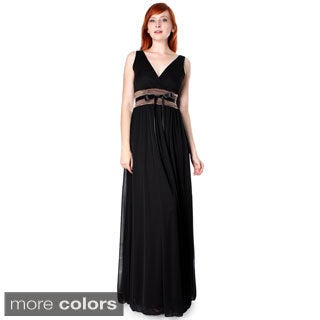 Evanese Women's Chiffon Matte Jersey Ruched Empire Long Dress