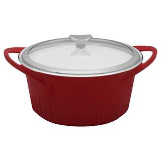 Corningware Red 5.5-quart Cast Aluminum Dutch Oven with Glass Cover