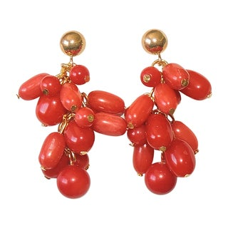 14k Goldfill Coral Bead Cluster Earrings