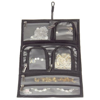 Household Essentials Black Tri-Fold Travel Jewelry Organizer