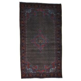 Overdyed Worn Persian Hamadan Oriental Hand Knotted Rug (5'4 x 9'4)