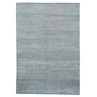 Wool and Rayon from Bamboo Silk Geometric Modern Hand Knotted Rug (6'1 x 8'9)
