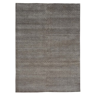 Oriental Wool and Rayon from Bamboo Silk Modern Hand Knotted Rug (6'3 x 8'7)