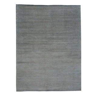 Geometric Modern Wool and Rayon from Bamboo Silk Hand Knotted Rug (9' x 11'10)