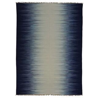Flat Weave Hand Woven Durie Kilim Ocean Design Rug (10'1 x 14')