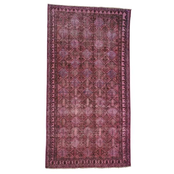 Handmade Oriental Pink Overdyed Worn Persian Hamadan Rug - 5' x 9'3