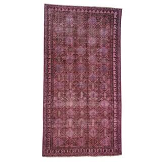 Handmade Oriental Pink Overdyed Worn Persian Hamadan Rug (5' x 9'3)
