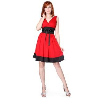 Evanese Women's Short Satin Trim Evening Dress