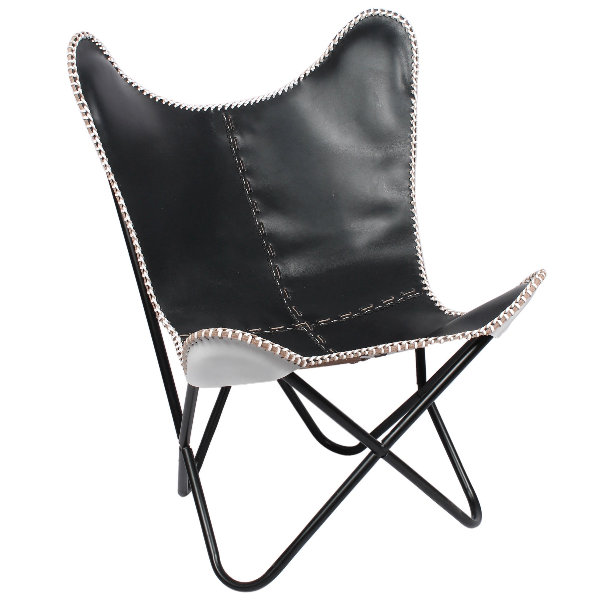 Horizon Black Leather Chair with White Weave