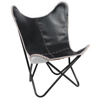 Horizon Black Leather Chair with White Weave - Thumbnail 0
