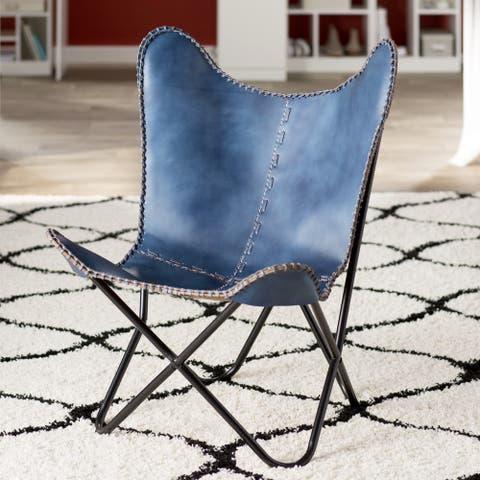 Carbon Loft Larkin Navy Blue Leather Butterfly Chair