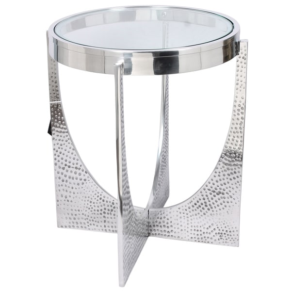 Horizon U-shaped Hammered Nickel Side Table