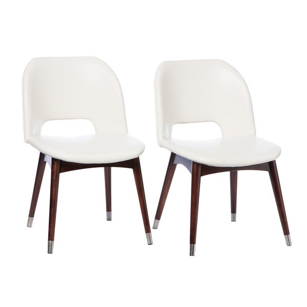 Betty modern white leather dining chairs set of 2 free for Modern white leather dining chairs