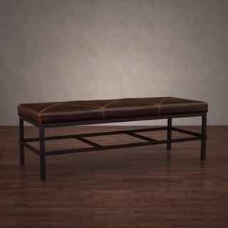 Antique Steel Vintage Tobacco Leather Bench