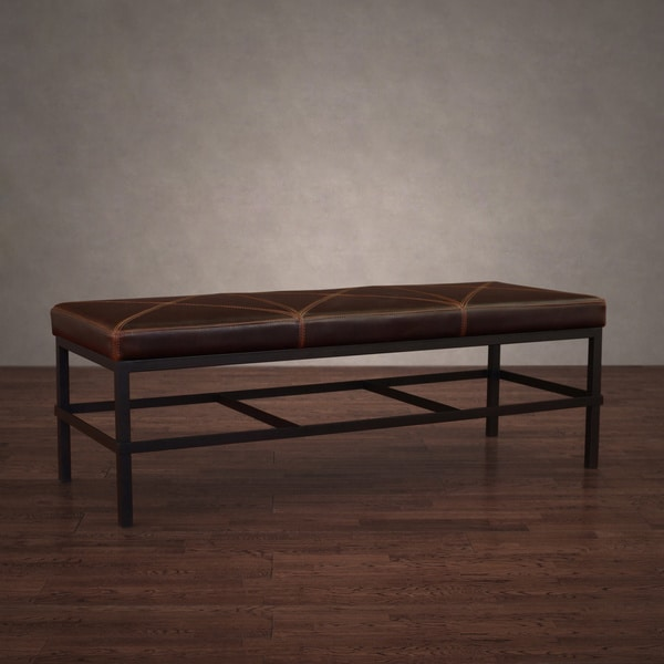 Antique Steel Vintage Tobacco Leather Bench