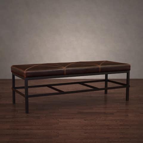 Carbon Loft Antique Steel Vintage Tobacco Leather Bench
