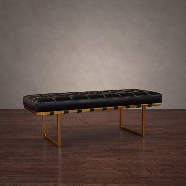 Andalucia Modern Gold Stainless Steel Black Leather Bench Free Shipping Today