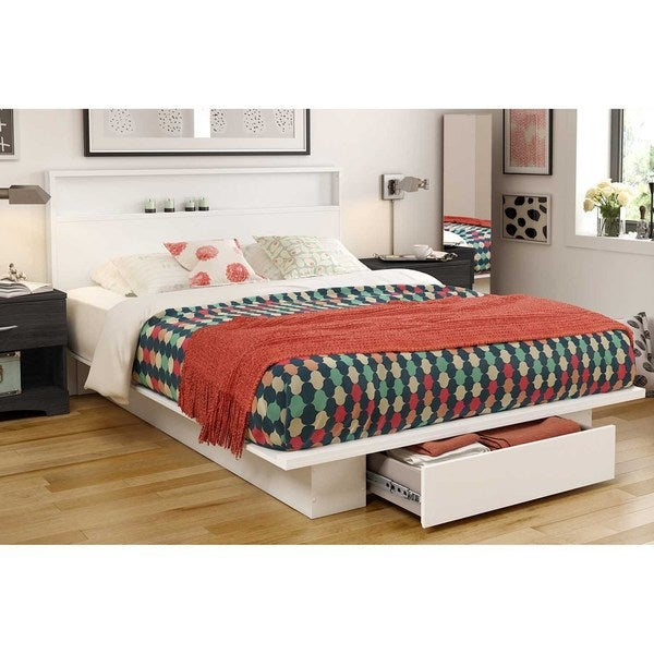South Shore Holland Pure White Full/Queen Platform Bed with Storage Drawer
