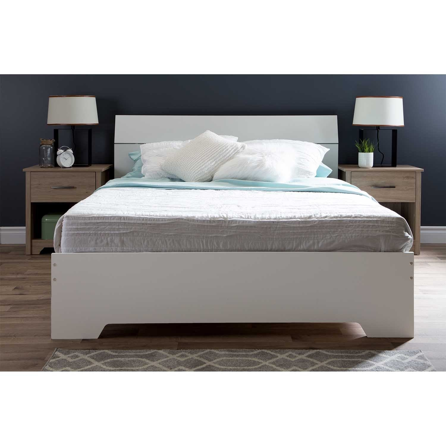 South Shore Queen Platform Bed with Headboard (Pure White)